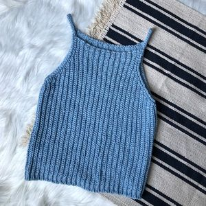 vintage knit baby blue tank top made in italy